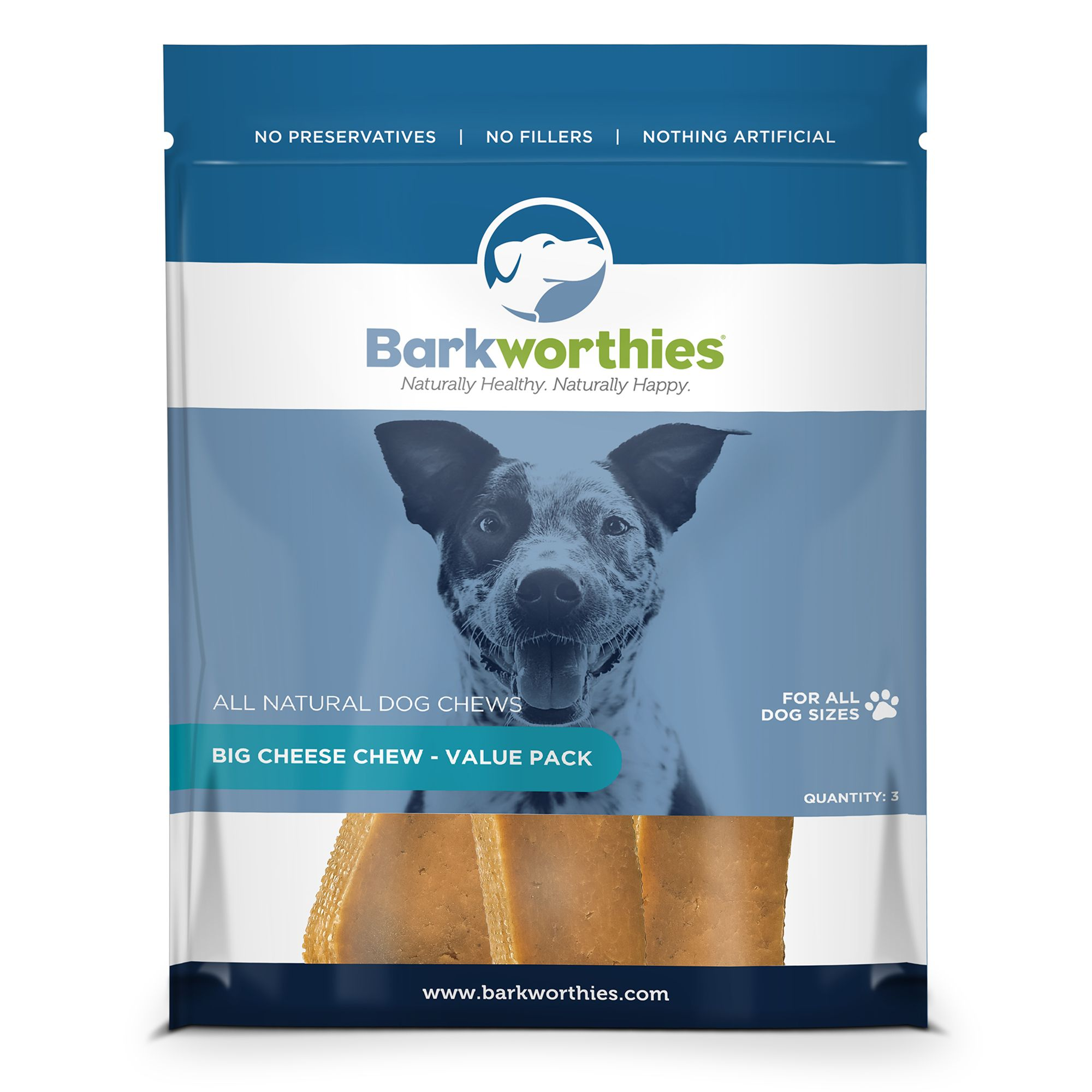 Barkworthies Big Cheese Chew Dog Treat Natural Size 3 Count