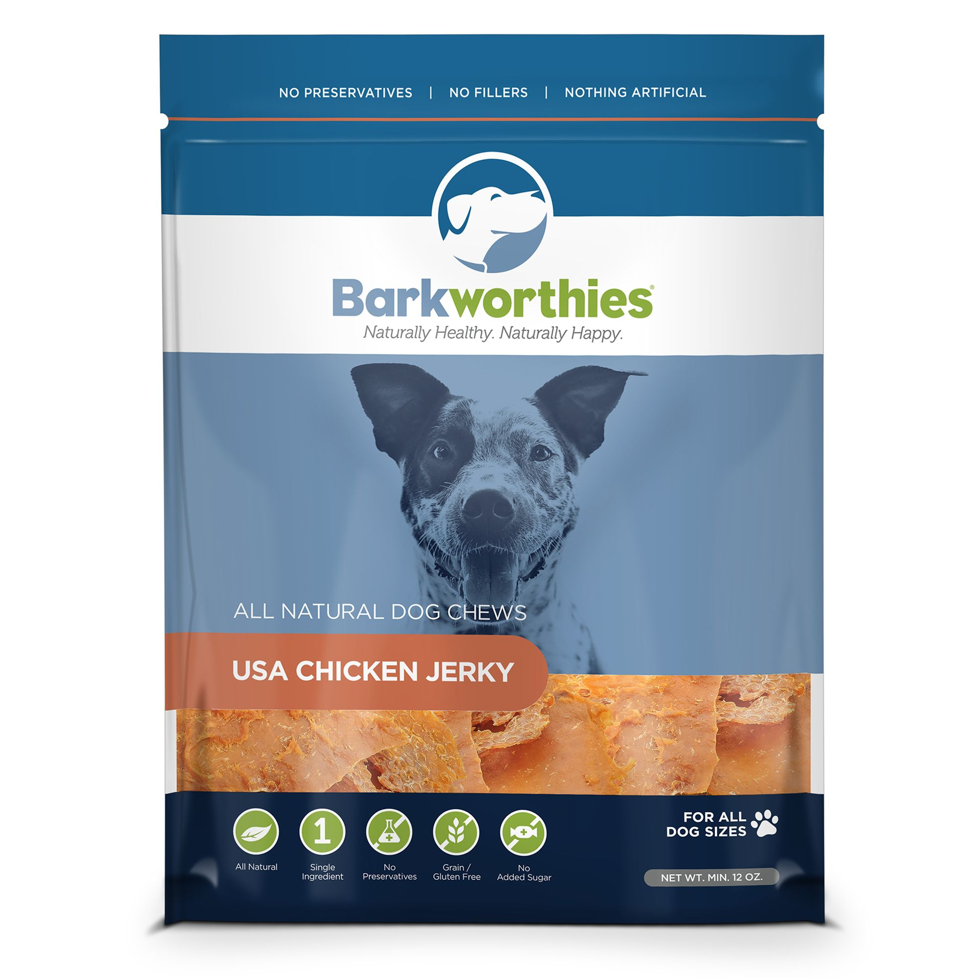Barkworthies Chicken Jerky Dog Treat Natural Chicken Size 12 Oz