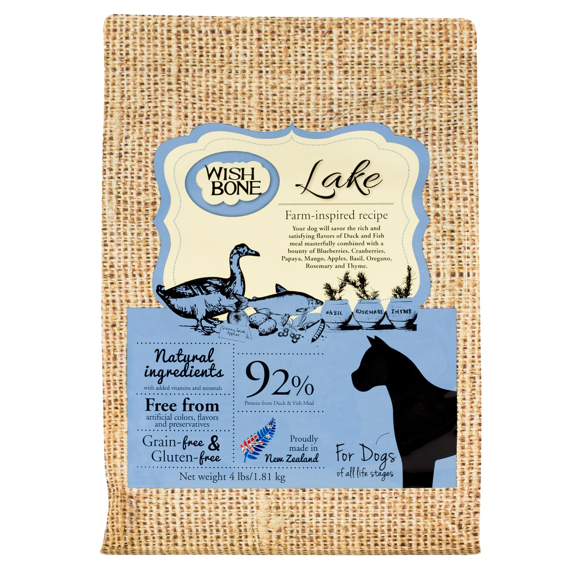Wishbone Lake Dog Food - Natural, Grain and Gluten Free, Duck size: 4 Lb, Kibble 5269957