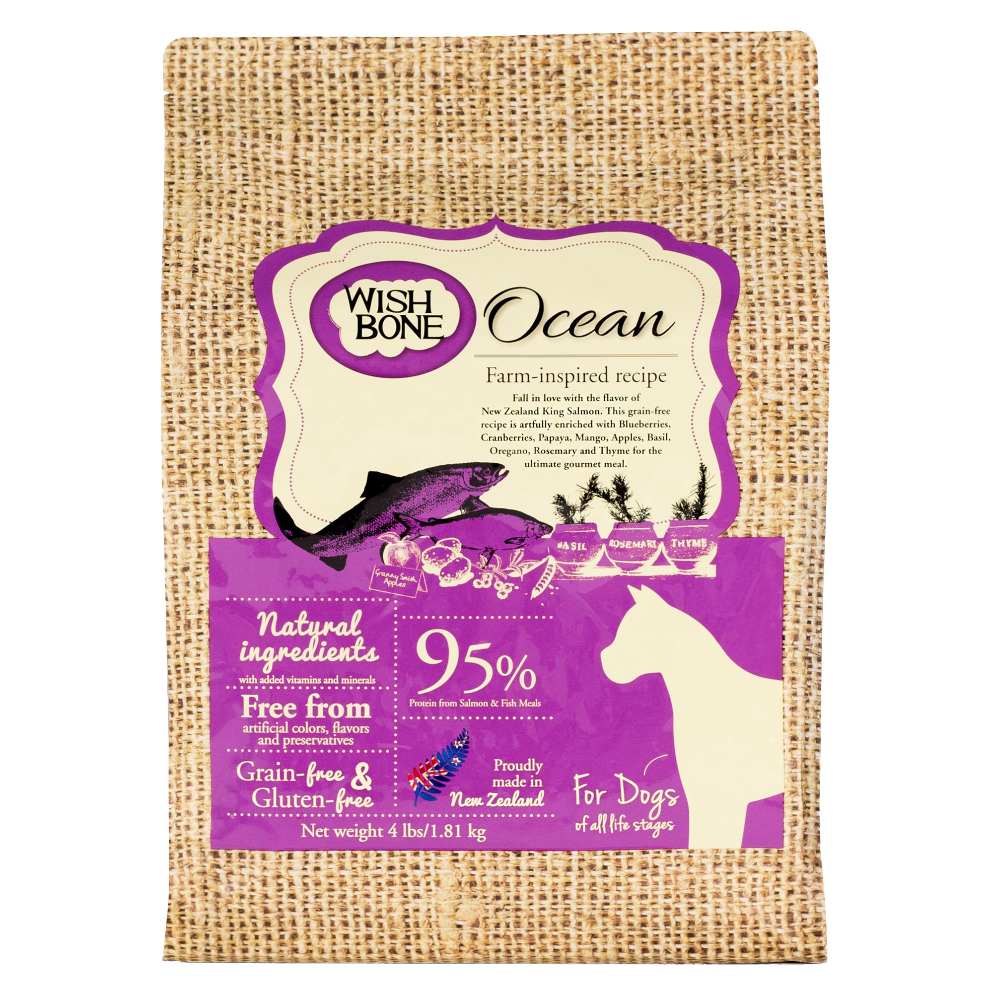 Wishbone Ocean Dog Food - Natural, Grain and Gluten Free, Salmon size: 4 Lb, Kibble 5269964