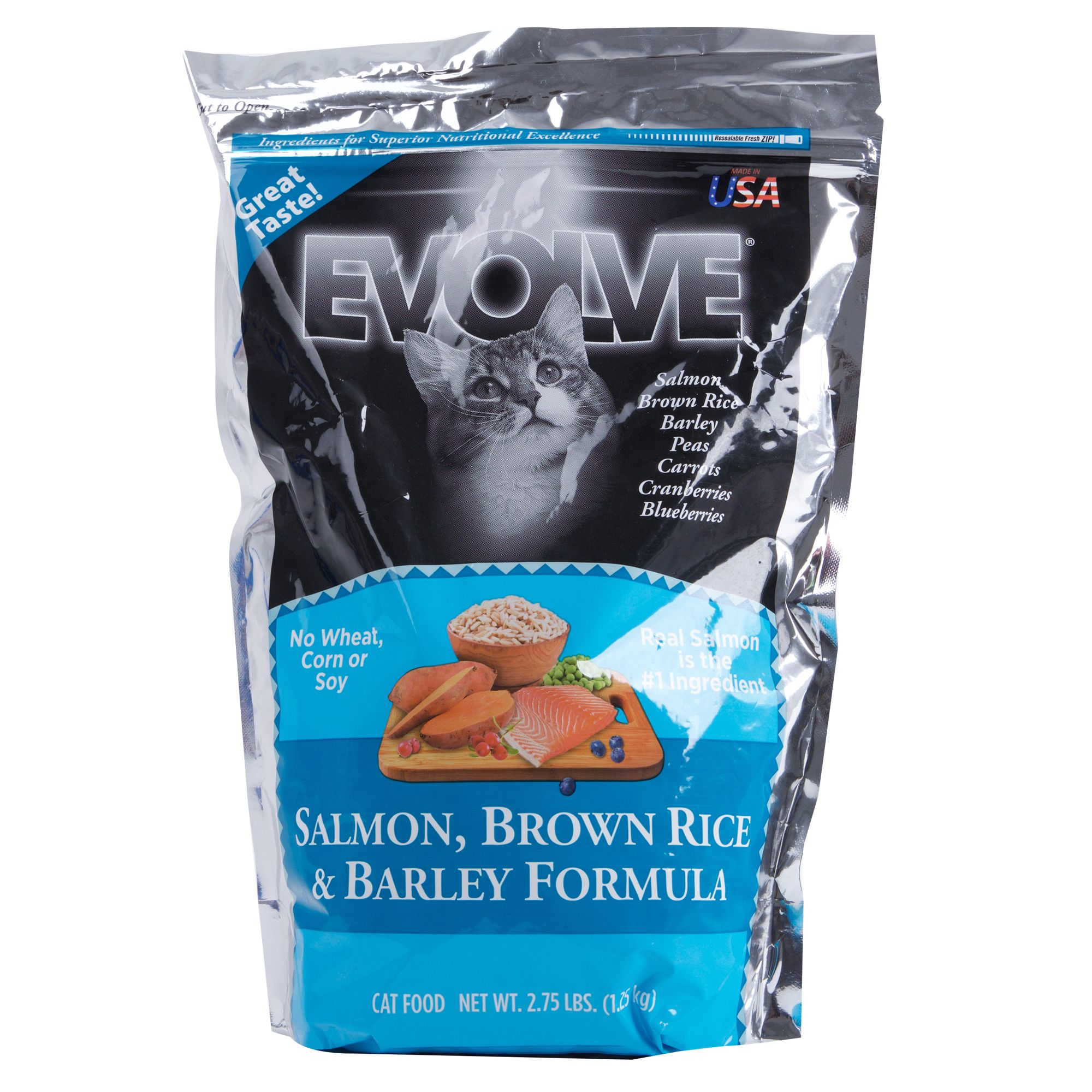 Evolve Adult Cat Food Salmon Brown Rice And Barley Size 2.75 Lb