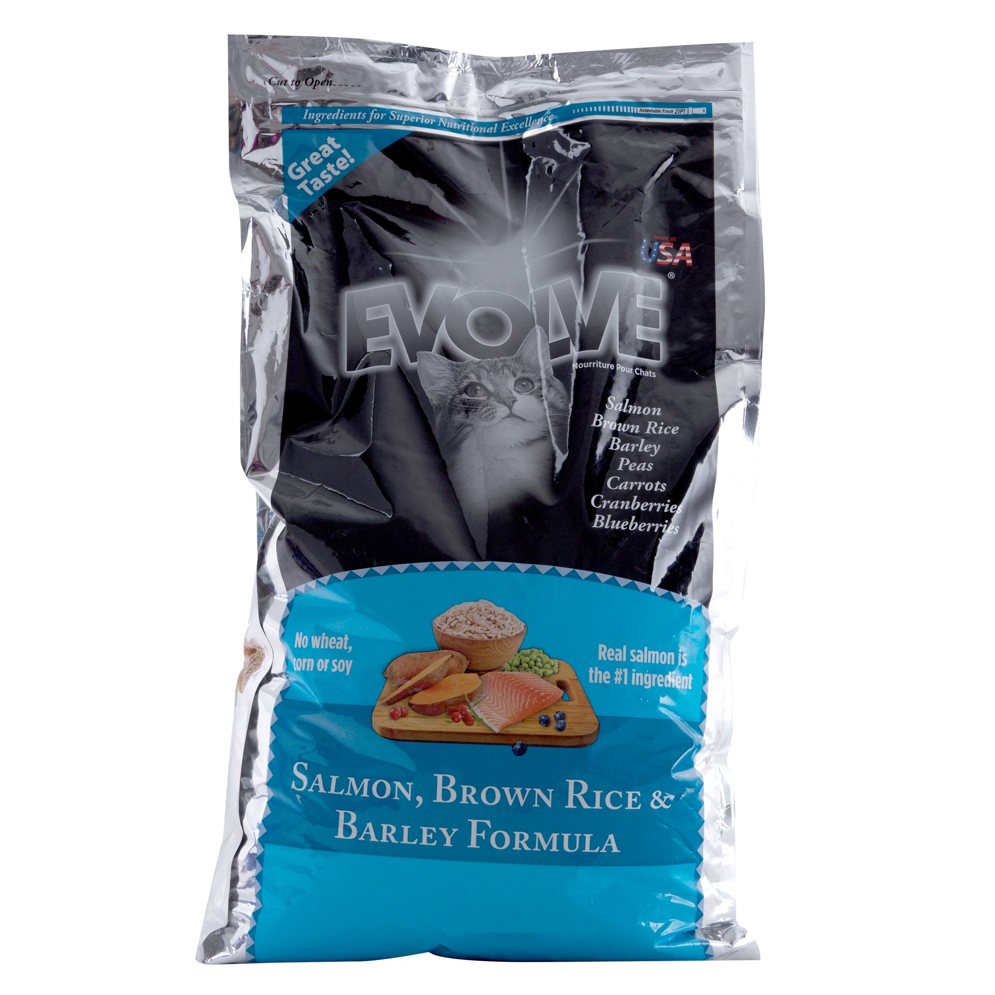 Evolve Adult Cat Food Salmon Brown Rice And Barley Size 14 Lb