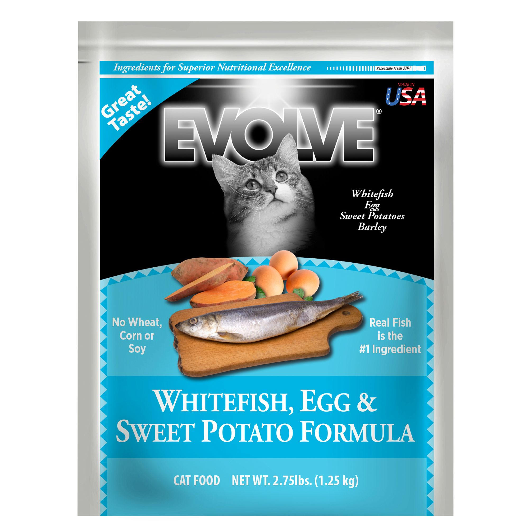 Evolve Adult Cat Food Whitefish Egg And Sweet Potato Size 2.75 Lb