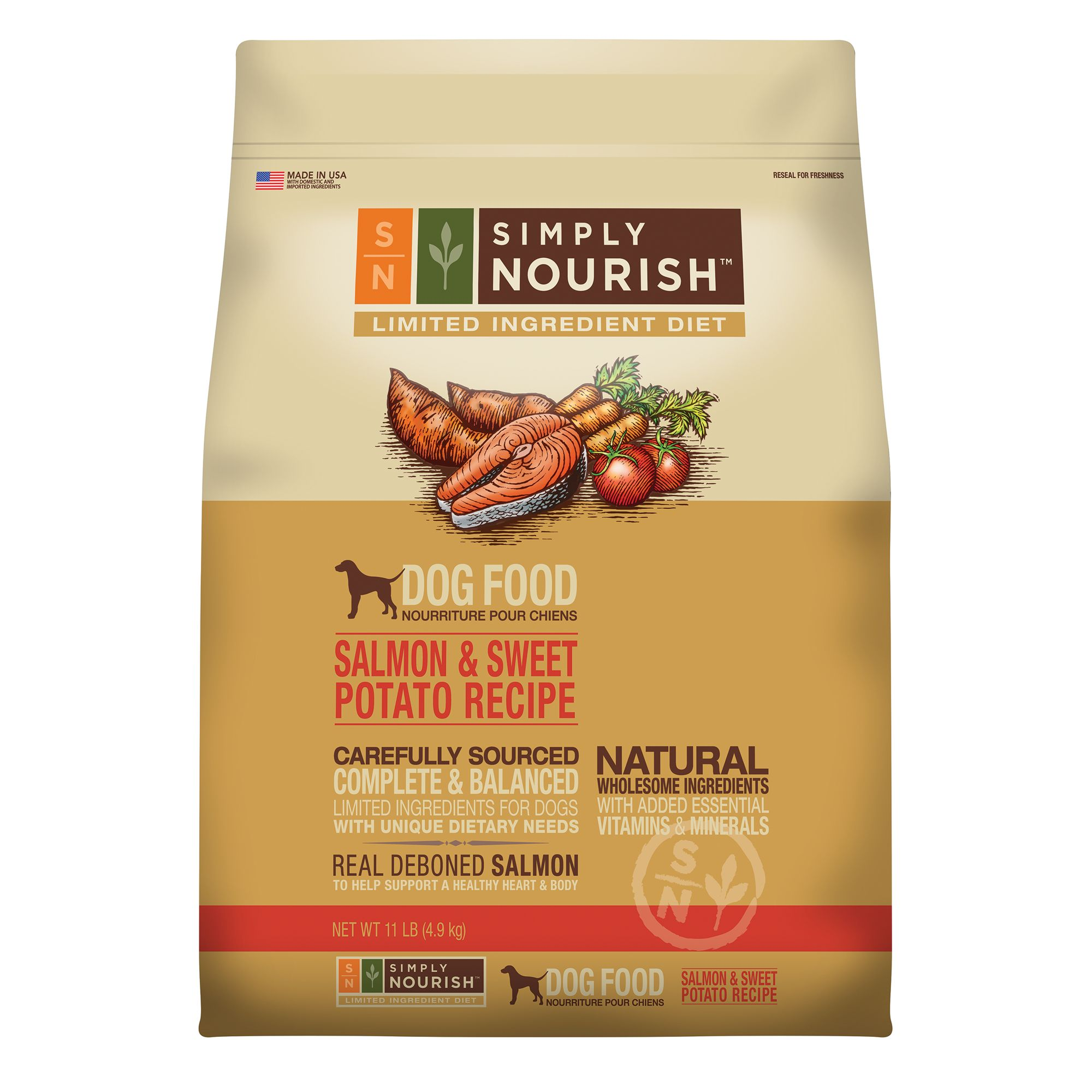 Altogether Nourish, Limited Ingredient Diet Dog Food - Natural, Salmon and Sweet Potato Recipe size: 11 Lb, Salmon & Beloved Potato, Adult