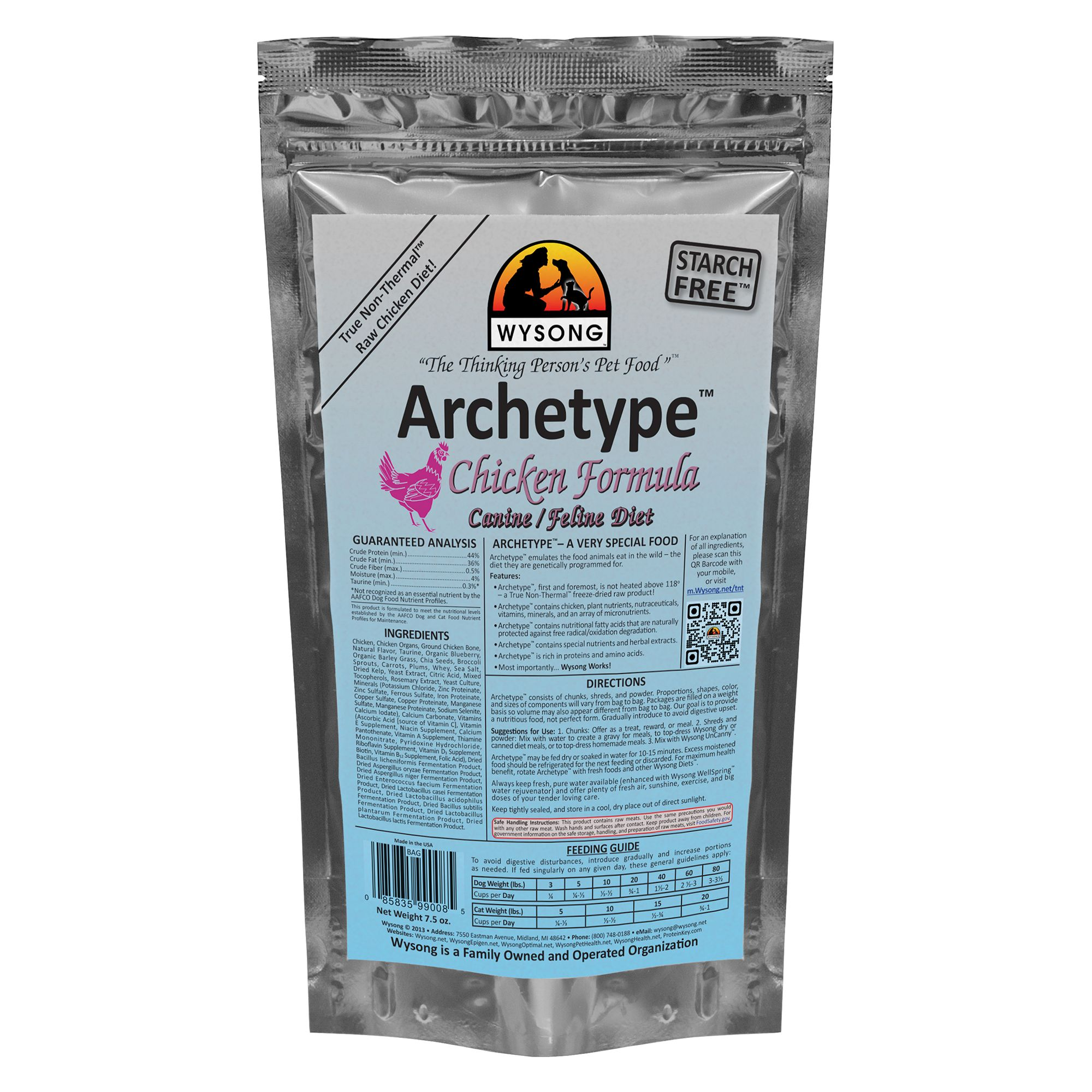 Wysong Archetype Freeze Dried Raw Dog and Cat Food - Chicken size: 7.5 Oz 5270596