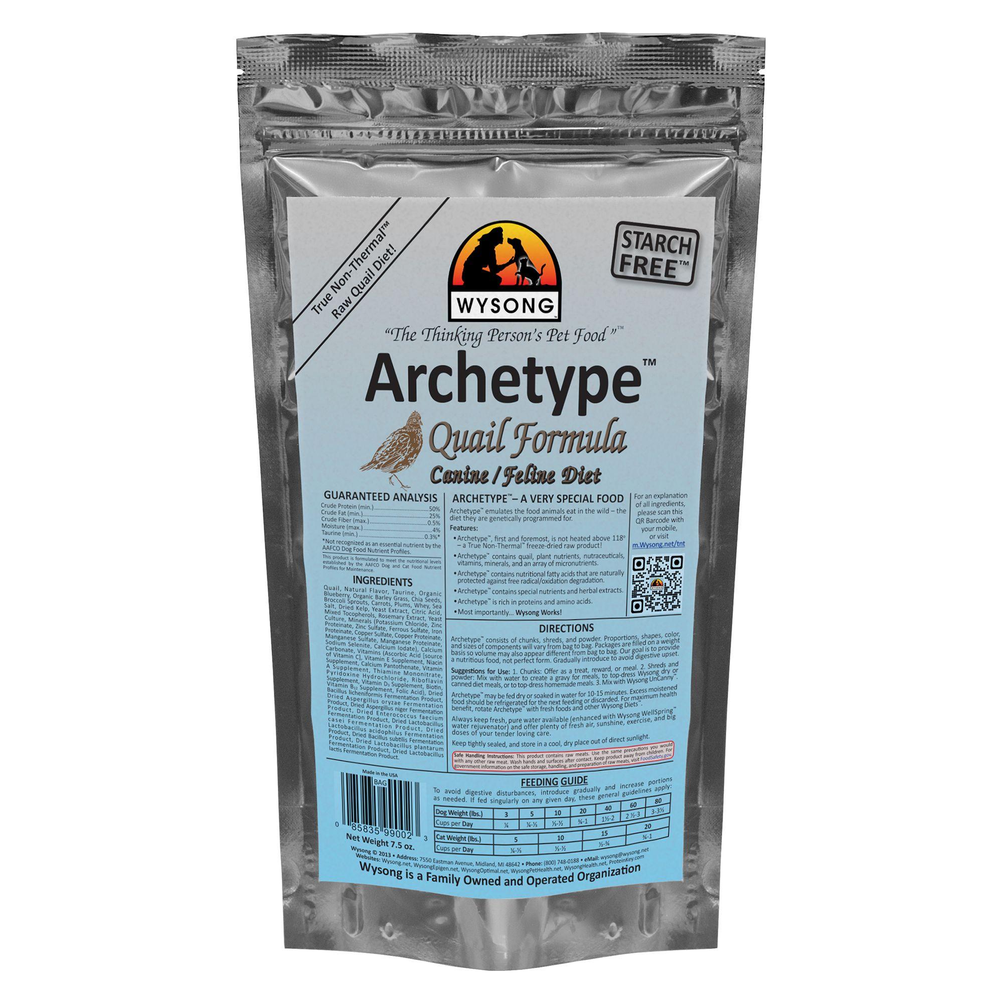 Wysong Archetype Freeze Dried Raw Dog and Cat Food - Quail size: 7.5 Oz 5270601