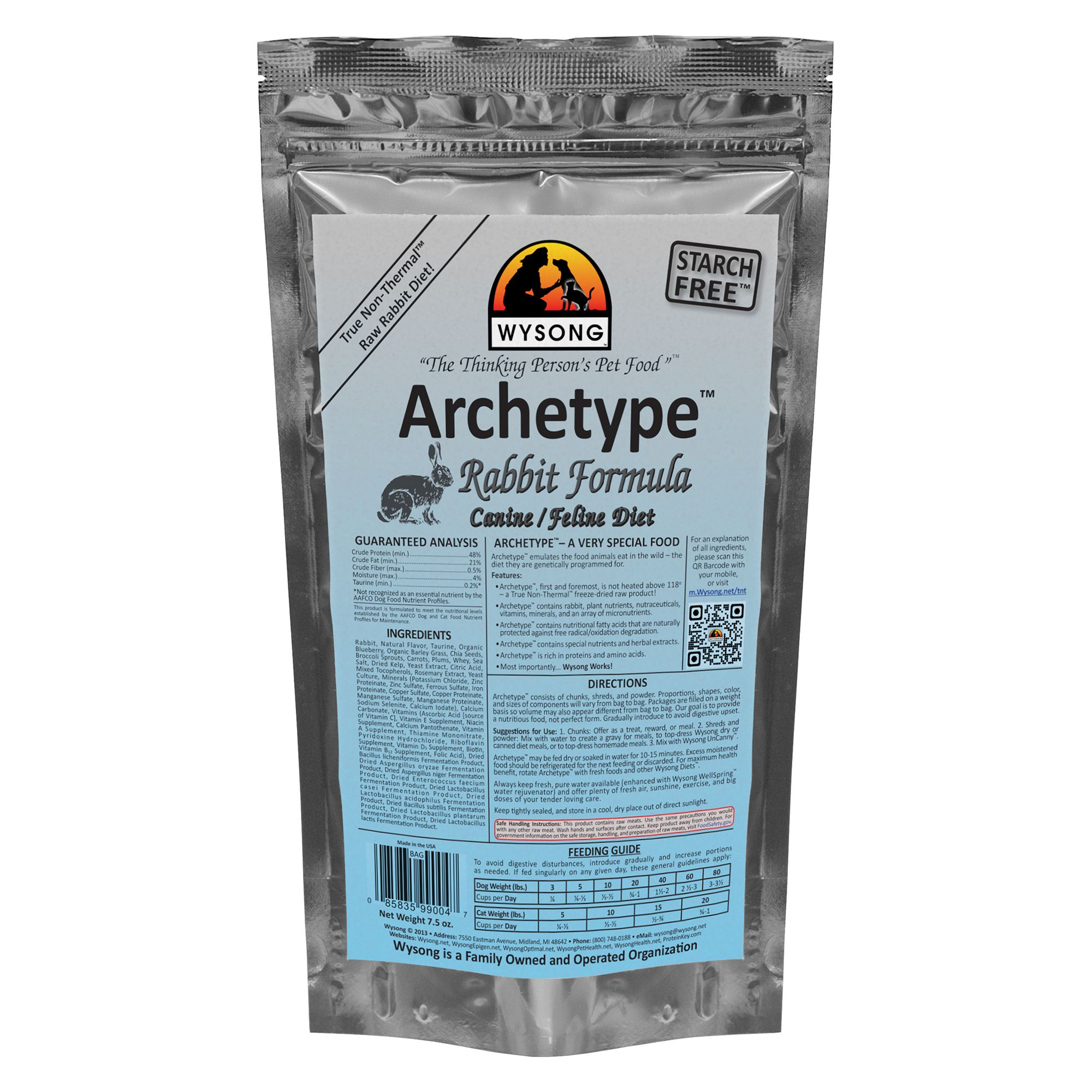 Wysong Archetype Freeze Dried Raw Dog and Cat Food - Rabbit size: 7.5 Oz 5270603