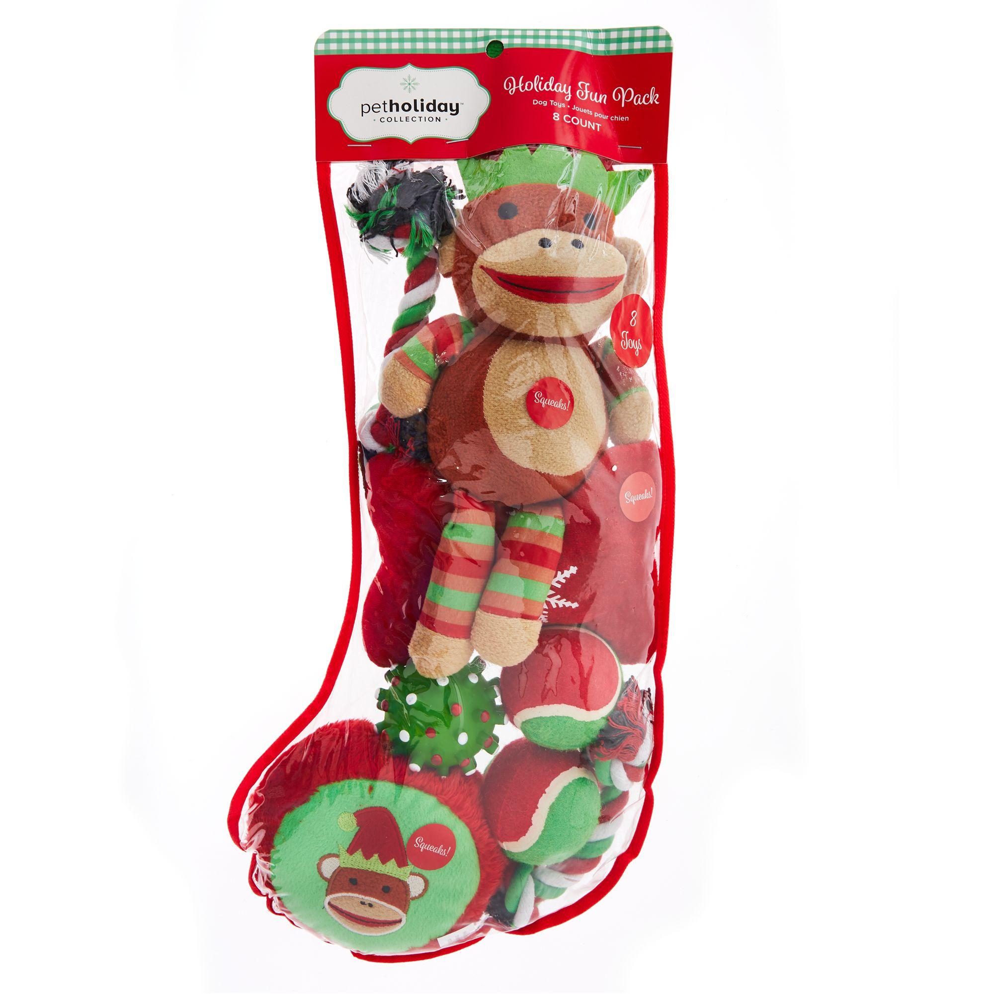 Pet Holiday, Sock Monkey Dog Stocking Toys - 8 Pack 5270946
