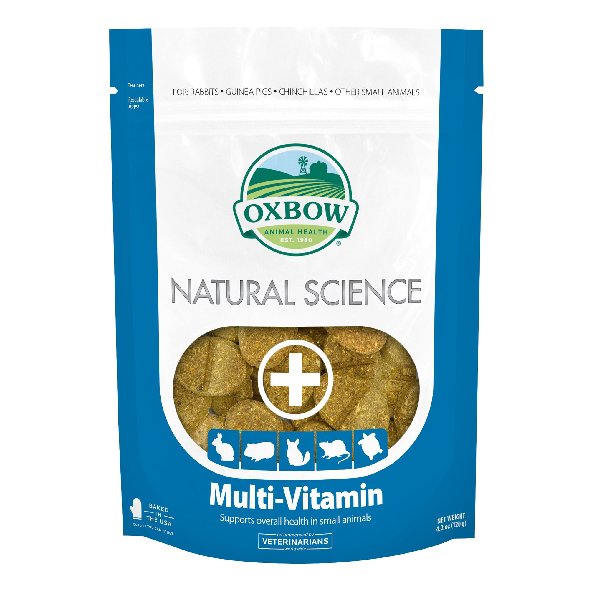 Oxbow Natural Science Multi-Vitamin Small Animal Supplements, Tab, Adult, Timothy Grass 5270996