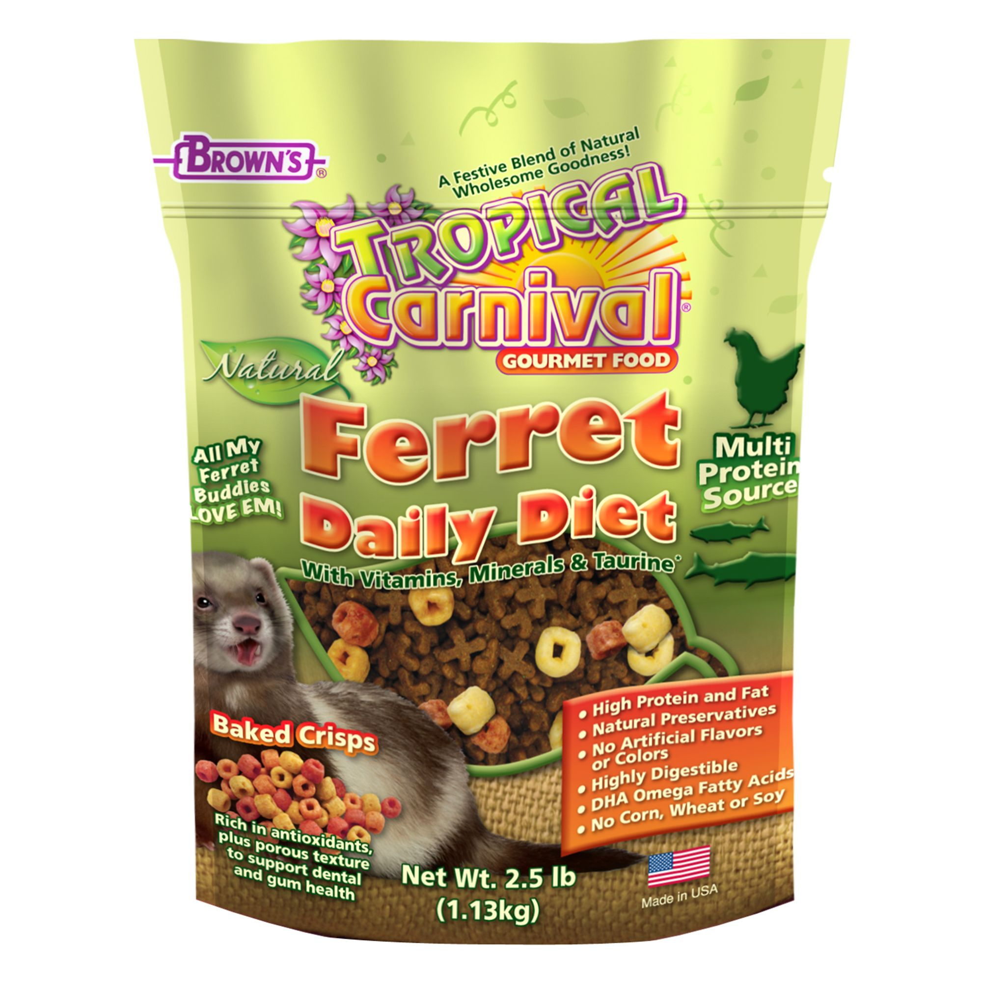 Browns Tropical Carnival Natural Ferret Food Size 2.5 Lb Fm Browns