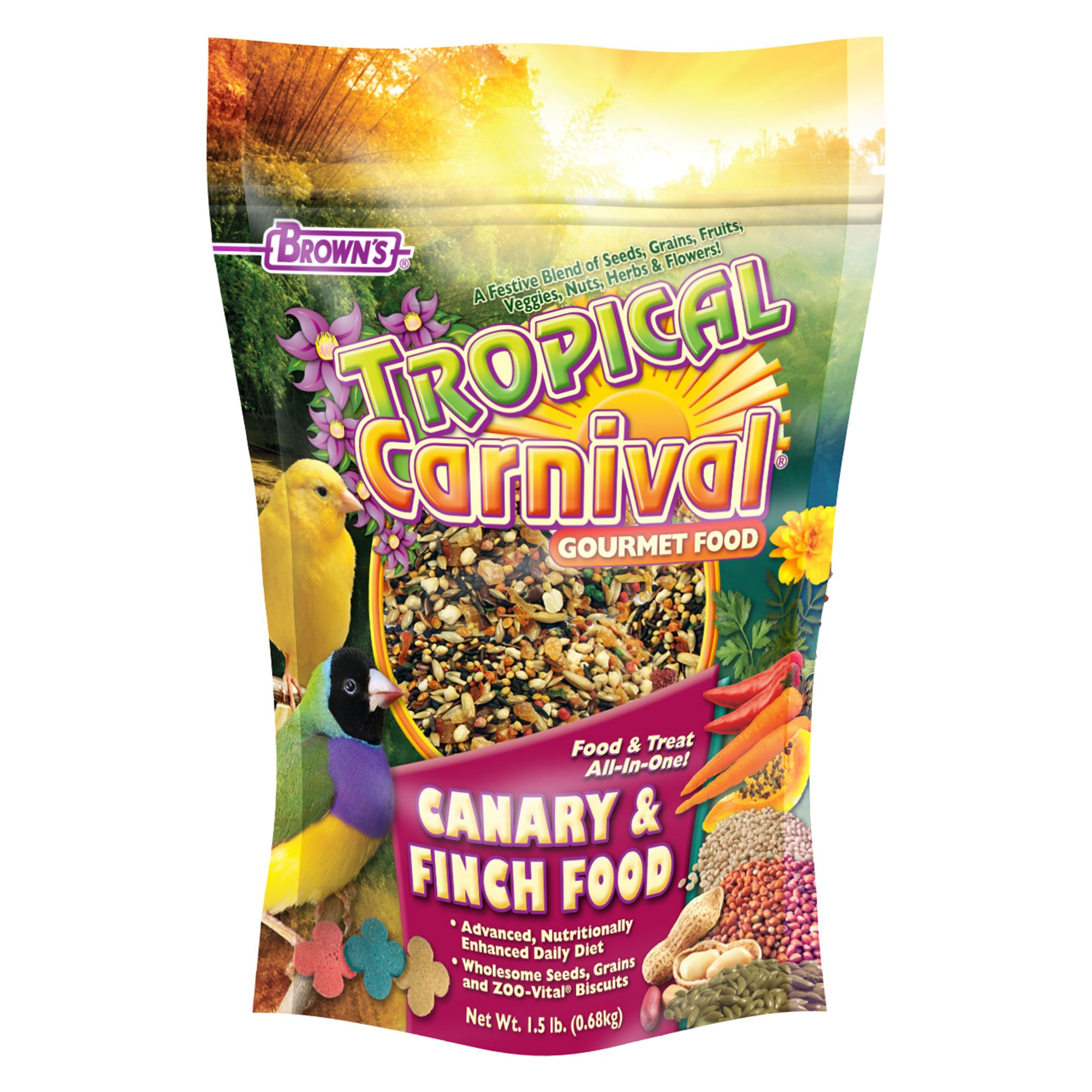 Browns Tropical Carnival Canary And Finch Bird Food Size 1.5 Lb Fm Browns