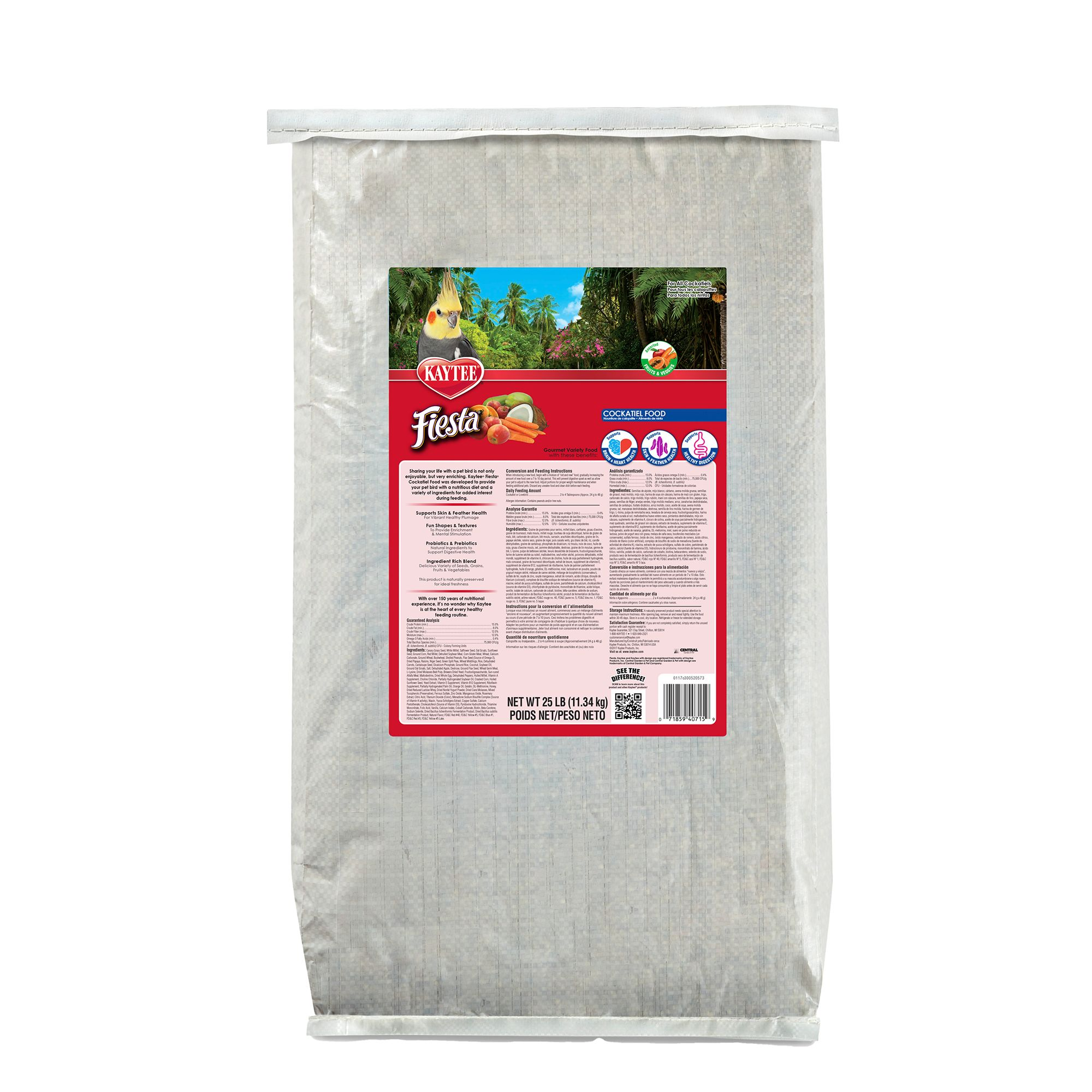 Kaytee Fiesta Cockatiel Food size: 25 Lb, Kibble, Seed, Fruits, Nuts, Adult, Canary Grass Seed 5271780