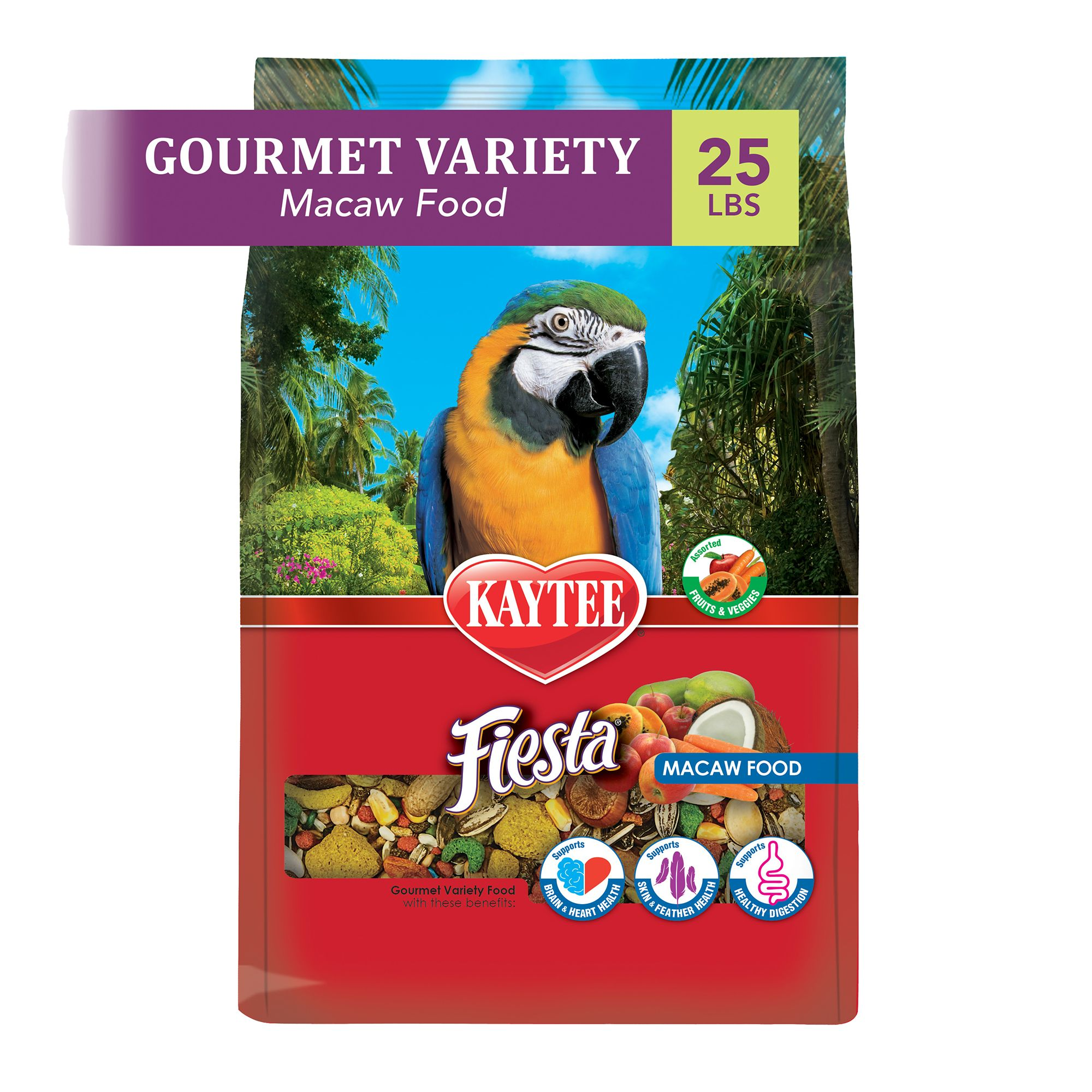 Kaytee Fiesta Macaw Food size: 25 Lb, Kibble, Seed, Fruits, Nuts, Adult, Sunflower Seed 5271782