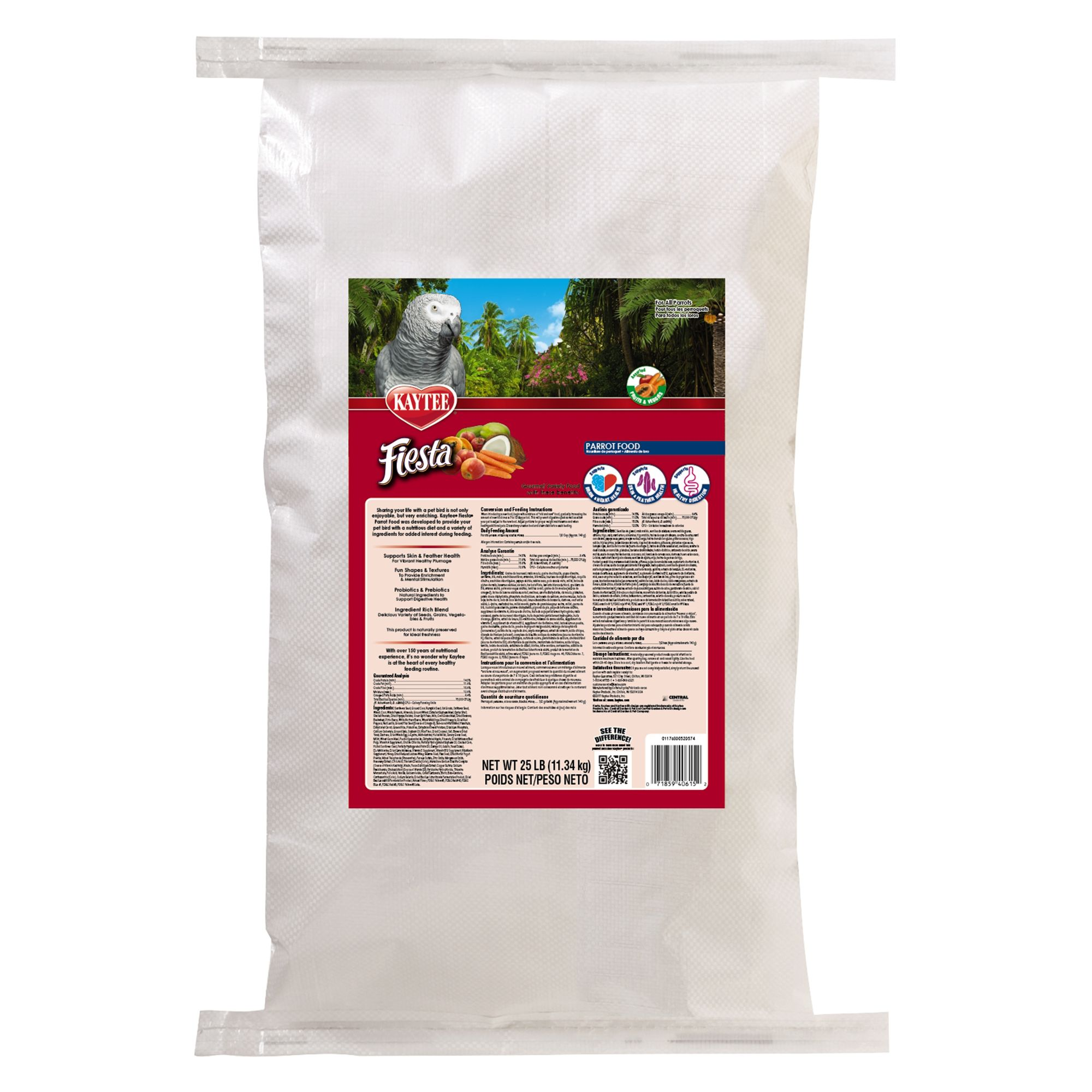 Kaytee Fiesta Parrot Food size: 25 Lb, Kibble, Seed, Fruits, Nuts, Adult, Sunflower Seed 5271796