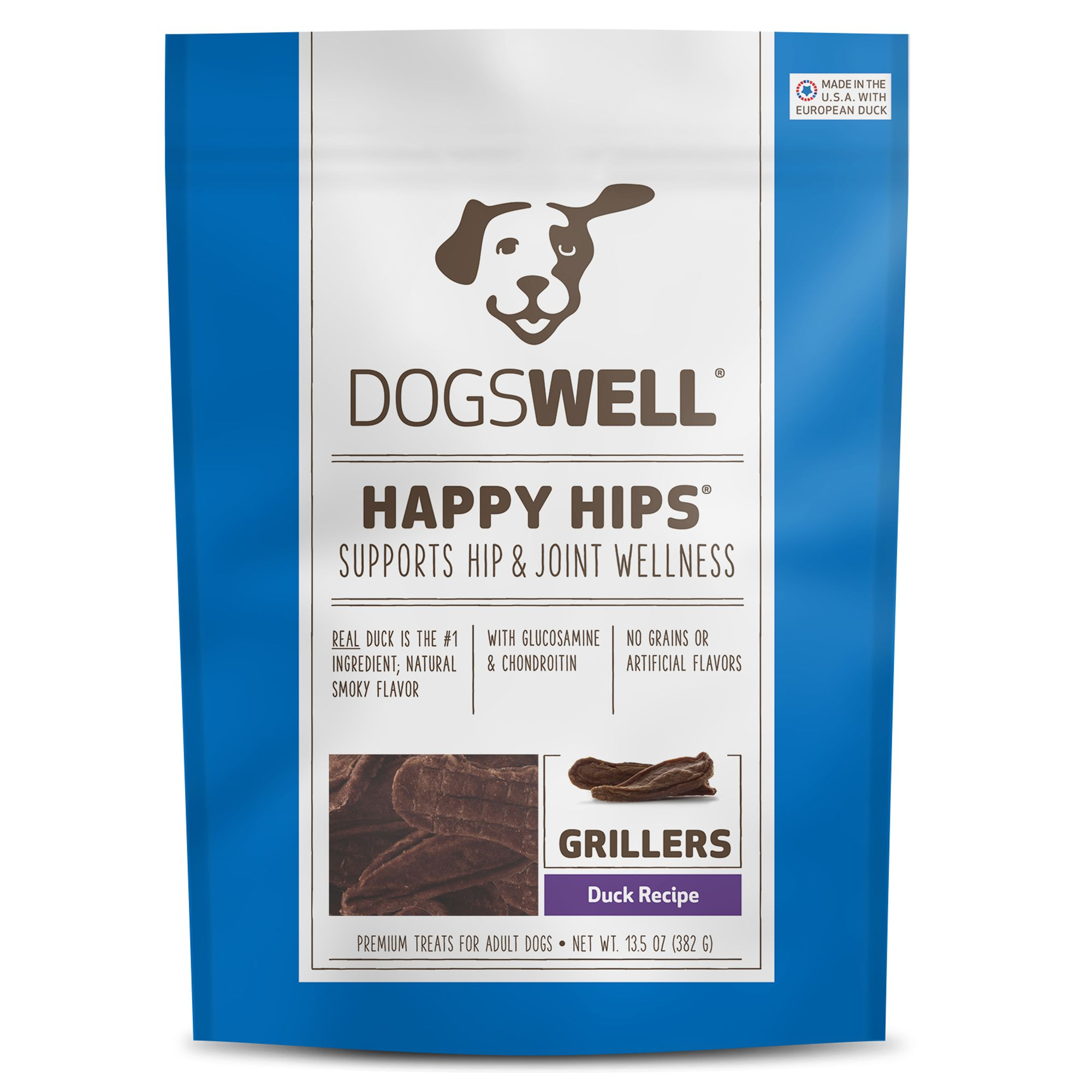 Dogswell Happy Hips Grillers Dog Treat Grain Free Duck Size 13.5 Oz