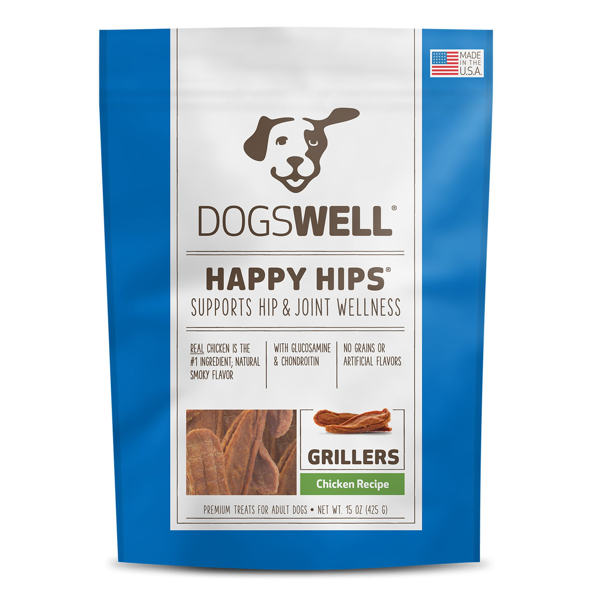 Dogswell Happy Hips Grillers Dog Treat - Grain Free, Chicken size: 15 Oz, Duck, Griller Treat, Adult 5271917