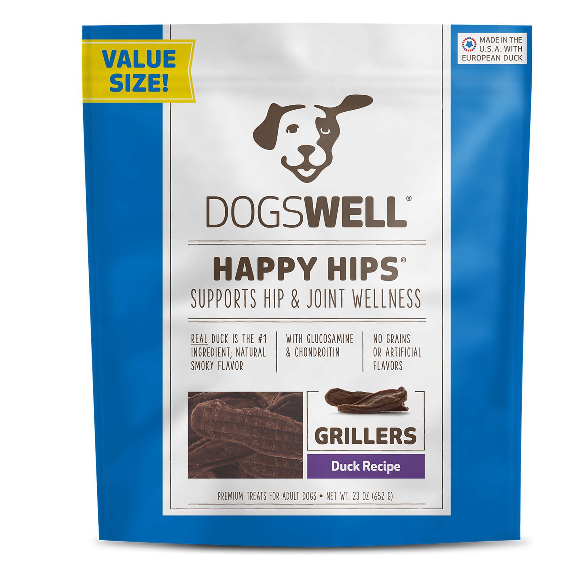 Dogswell Happy Hips Grillers Dog Treat - Grain Free, Duck size: 23 Oz, Griller Treat, Adult 5271918