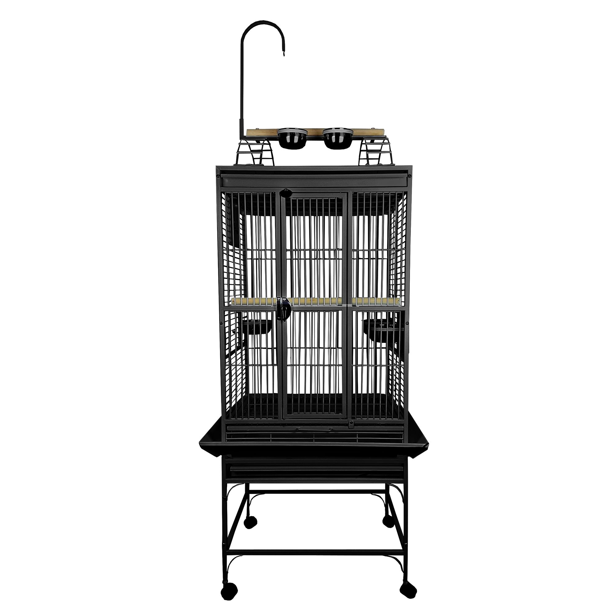 """AandE Cage Company Play Top Bird Cage size: 18""""L x 18""""W x 54""""H, Black, A & E 5273092"""