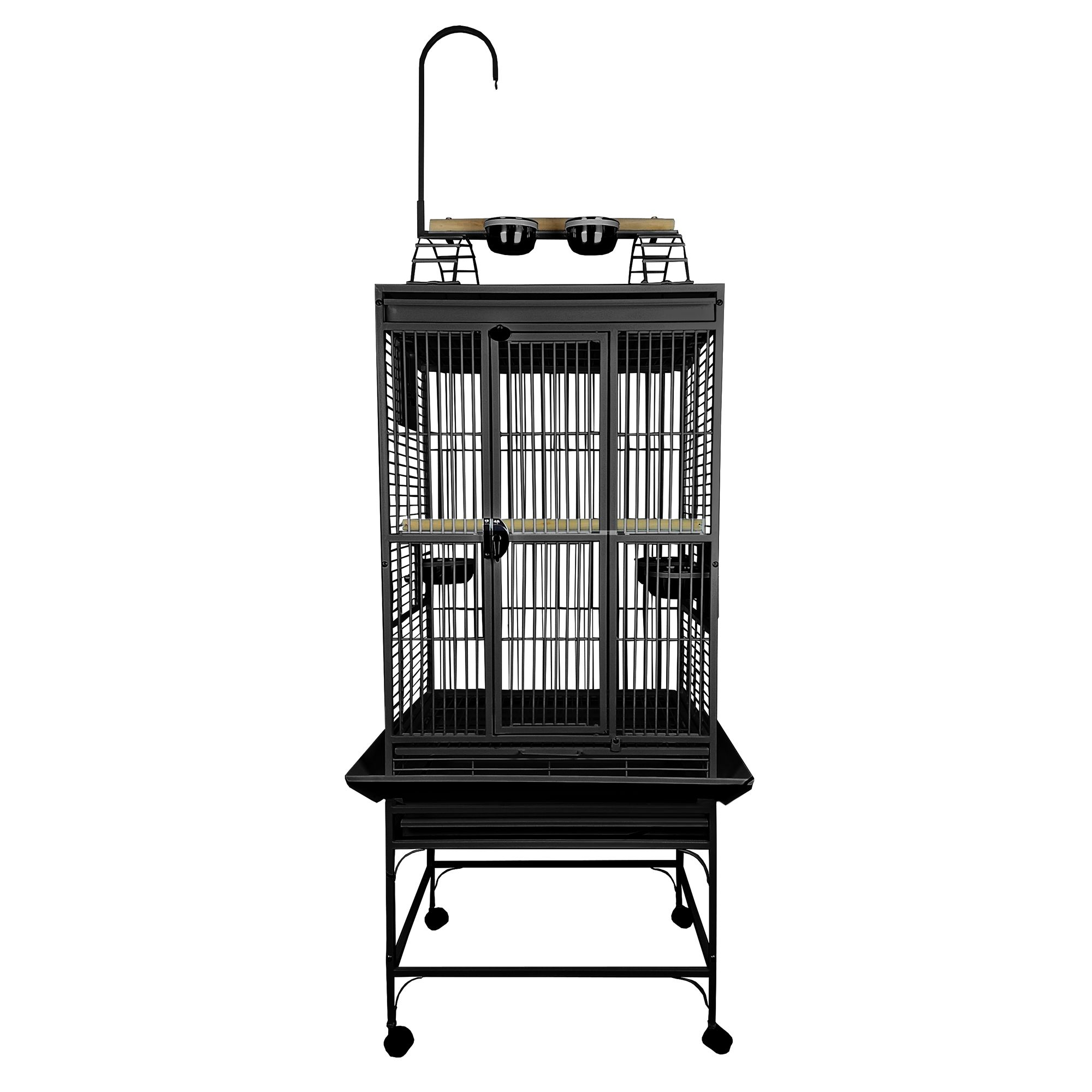 """AandE Cage Company Play Top Bird Cage size: 32""""L x 23""""W x 66""""H, Black, A & E 5273096"""