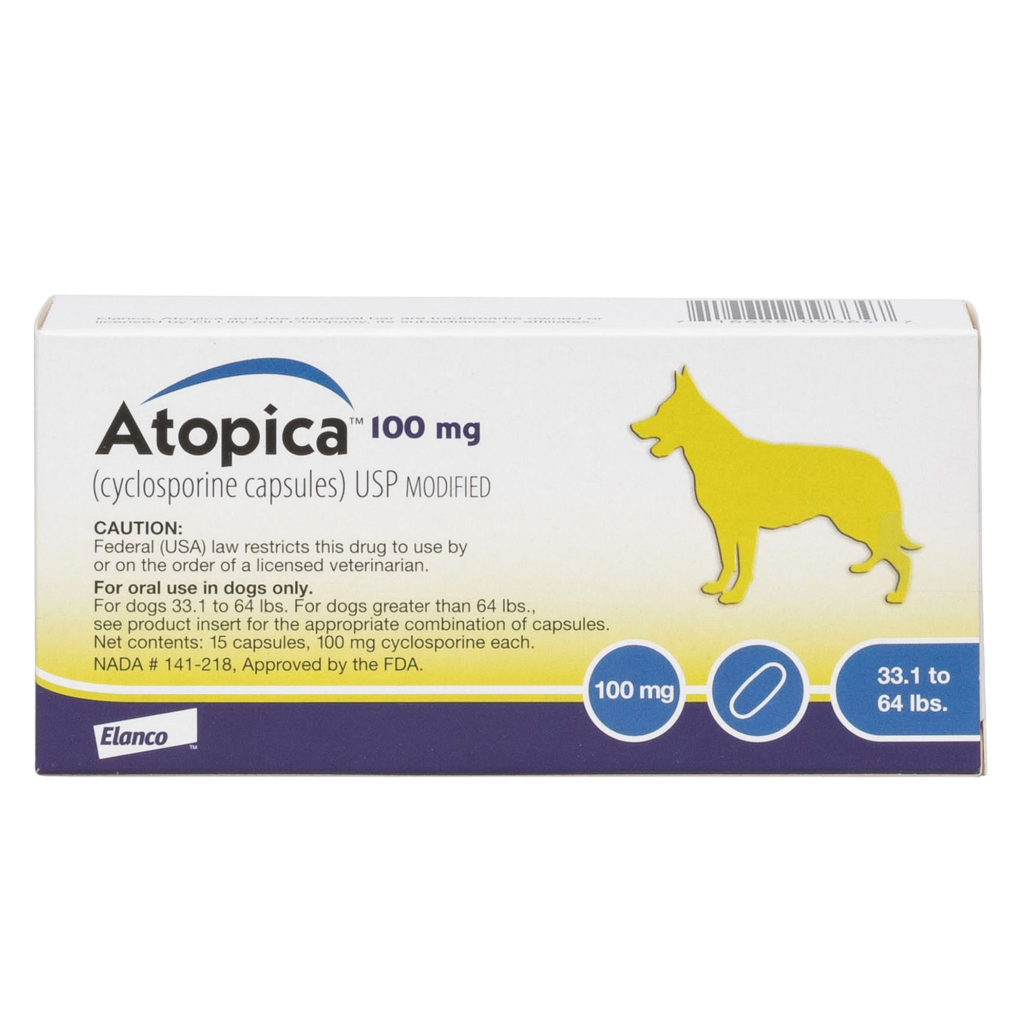 Atopica Cyclosporine Capsules For Dogs 15 Pack Size 100 Mg
