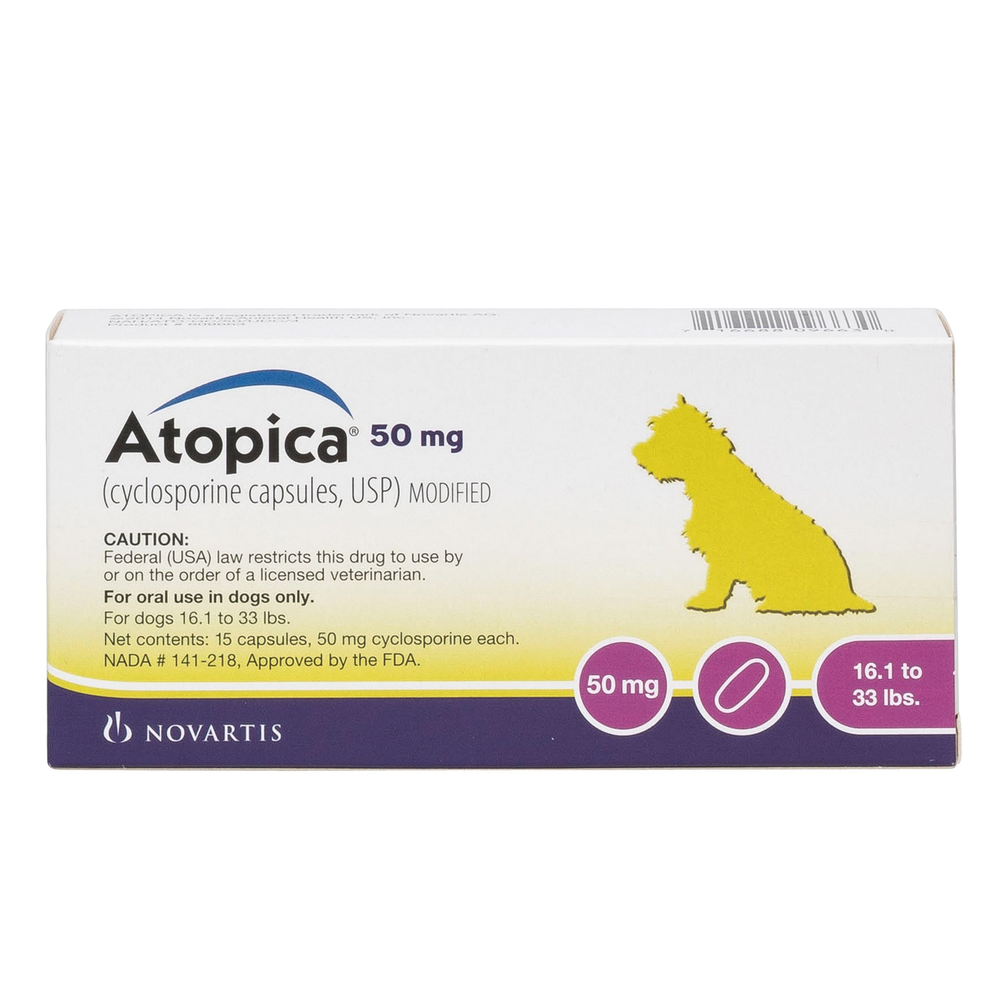 Atopica Cyclosporine Capsules For Dogs 15 Pack Size 50 Mg