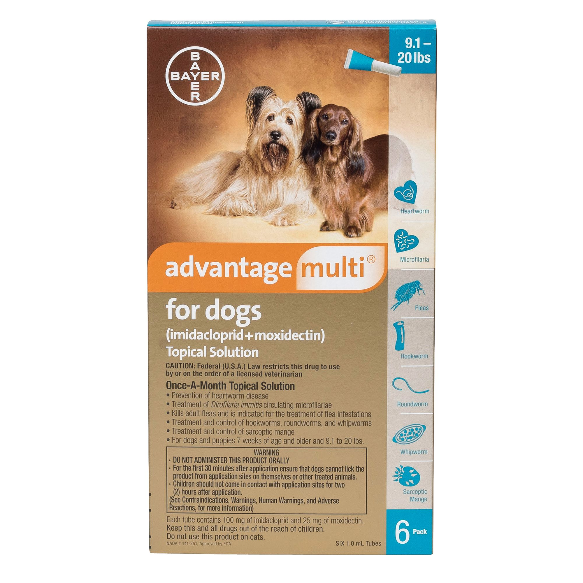 Advantage Multi Topical Solution For Dogs 6 Pack Size 9.1 20 Lbs