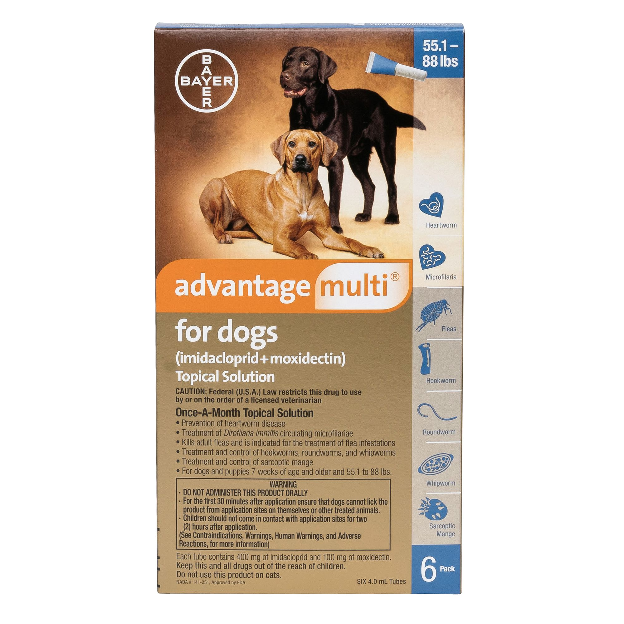 Advantage Multi Topical Solution For Dogs 6 Pack Size 55.1 88 Lbs
