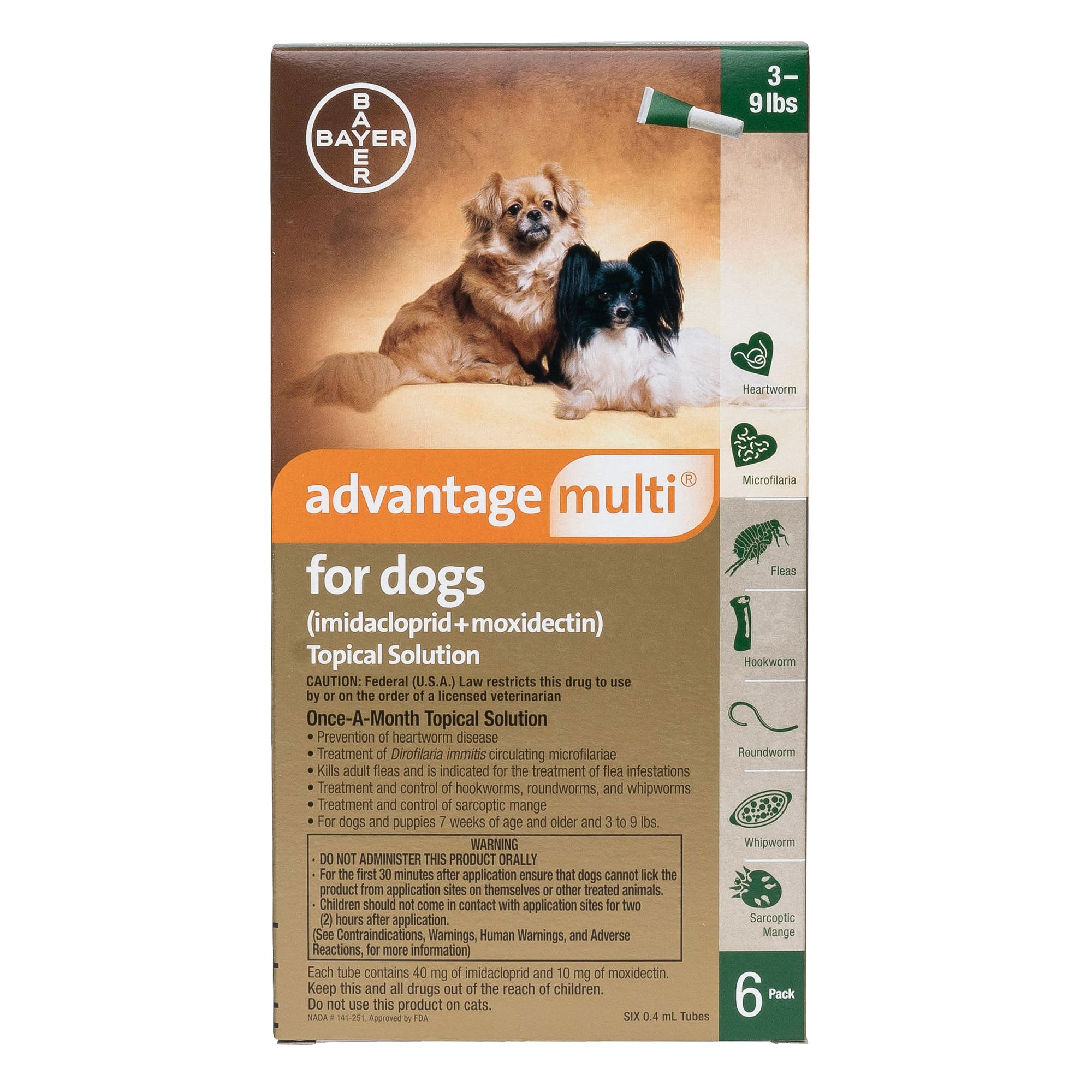 Advantage Multi Topical Solution For Dogs 6 Pack Size 3 9 Lbs