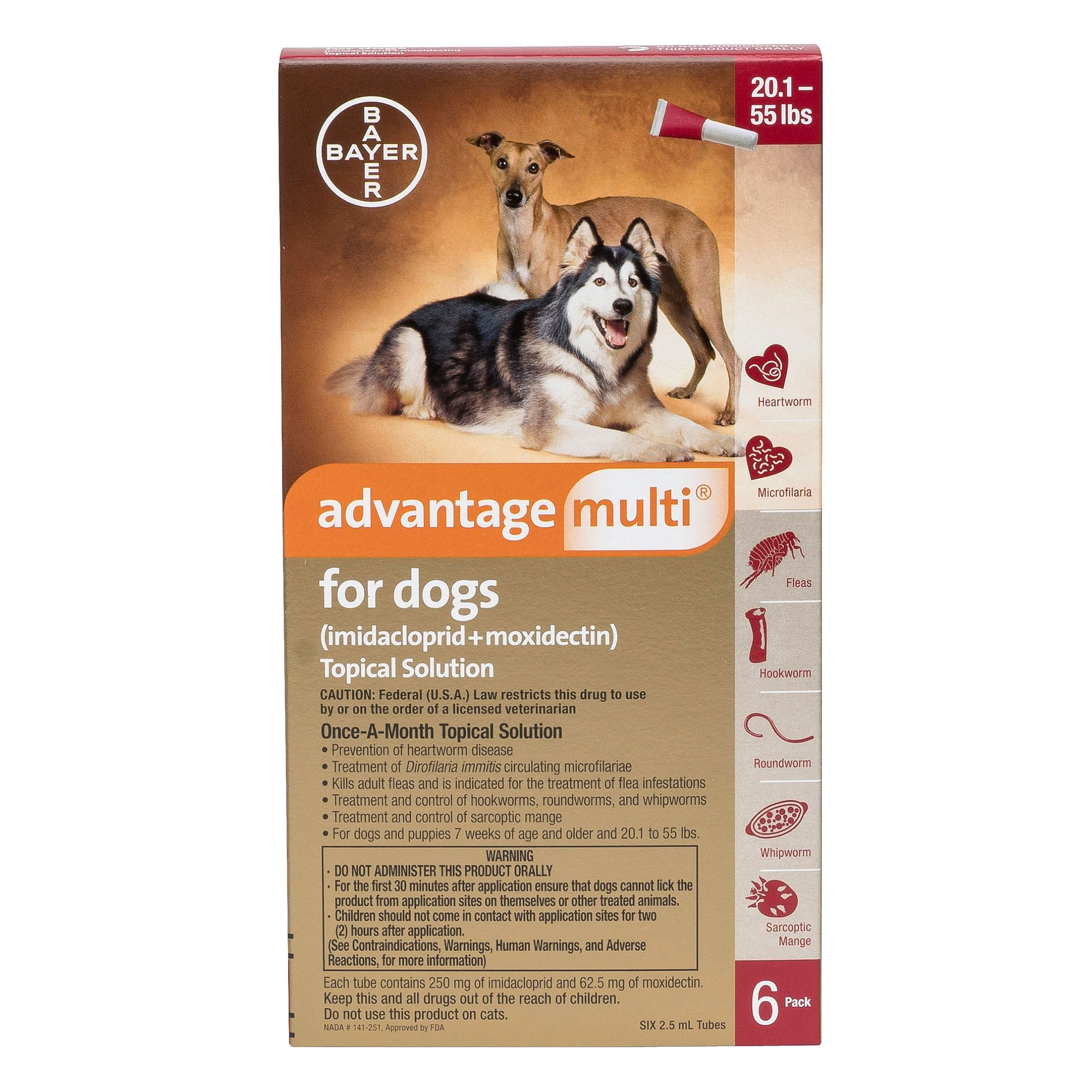 Advantage Multi Topical Solution For Dogs 6 Pack Size 20.1 55 Lb