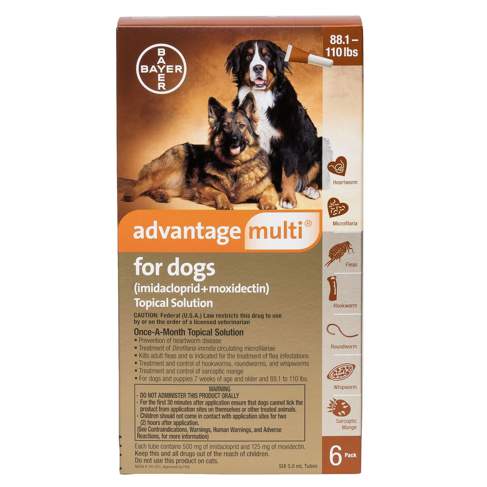 Advantage Multi Topical Solution For Dogs 6 Pack Size 88 110 Lbs