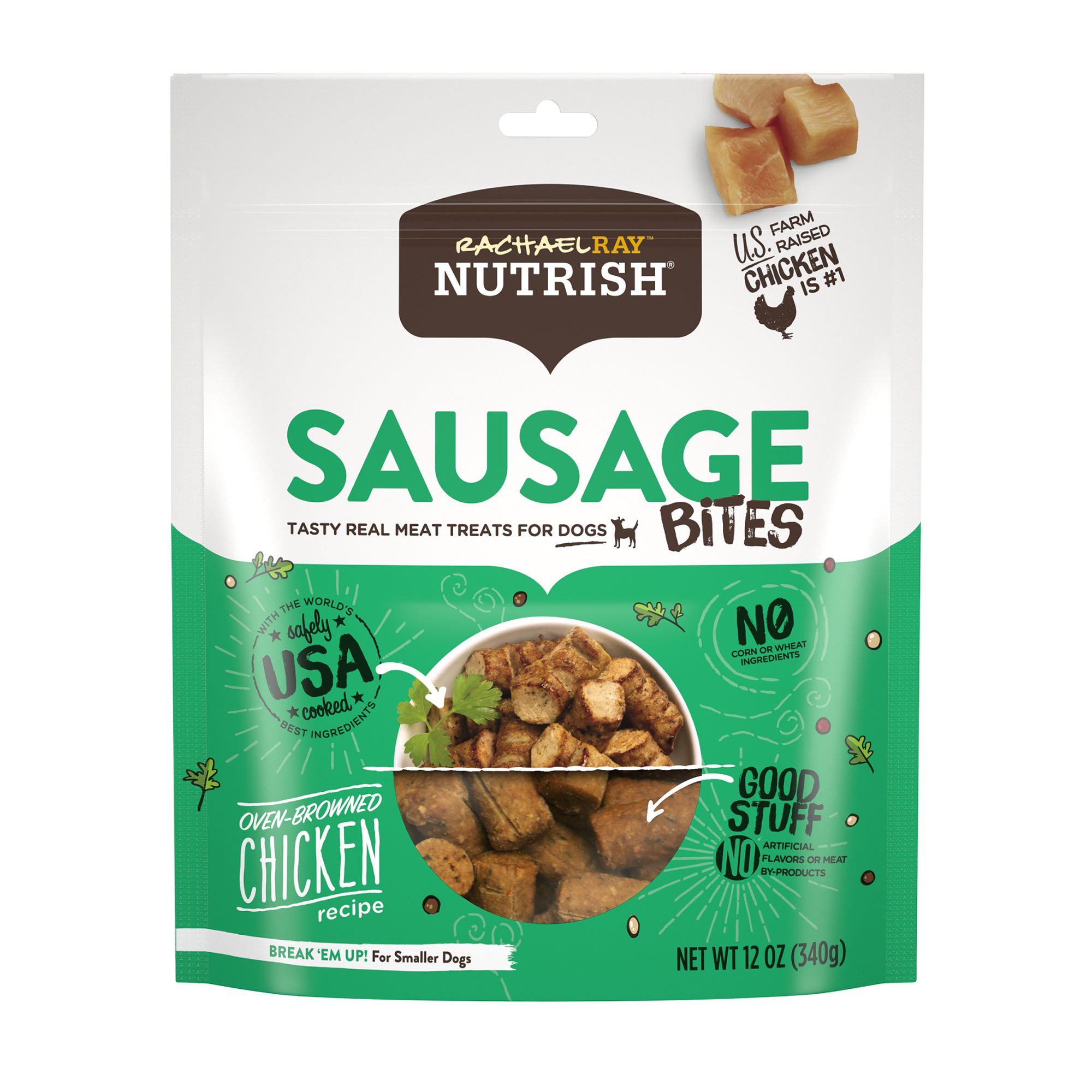 Rachael Ray, Nutrish Sausage Bites Dog Treat - Chicken Recipe size: 12 Oz, Rachael Ray Nutrish 5278090