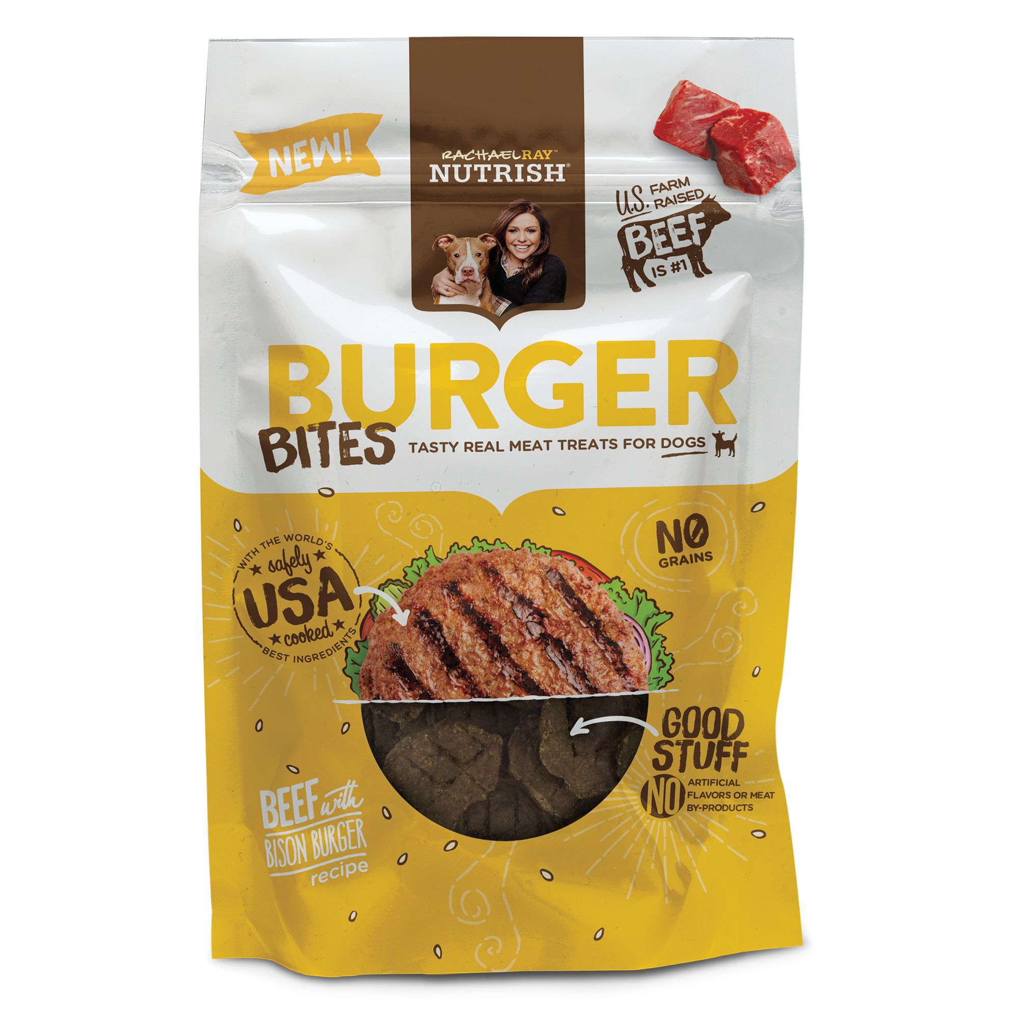 Rachael Ray, Nutrish Burger Bites Dog Treat - Grain Free, Beef with Bison Burger Recipe size: 3 Oz, Rachael Ray Nutrish 5278095