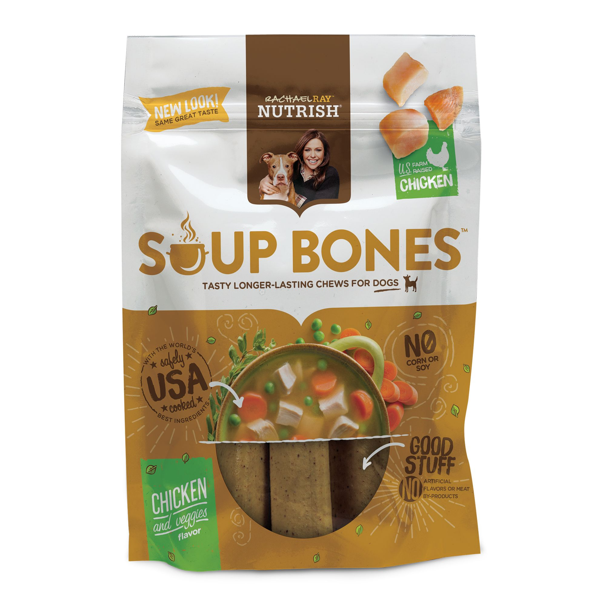 Rachael Ray, Nutrish Soup Bones Dog Treat - Chicken and Veggies Flavor size: 6 Count, Rachael Ray Nutrish 5278101