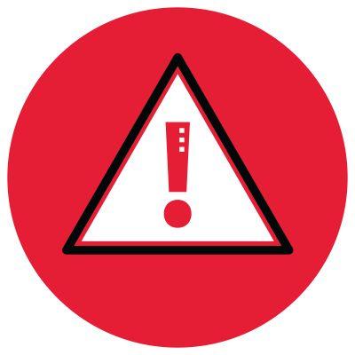 Icon illustration of an alert symbol.