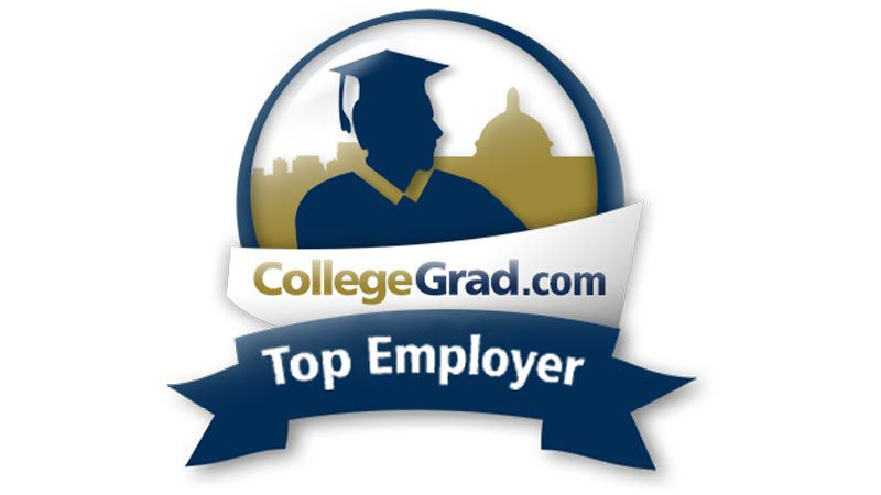 Logo reading CollegeGrad dot com, Top Employer.