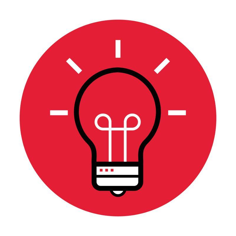 Icon illustration of a lightbulb.
