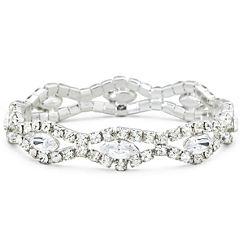 Vieste® Rhinestone Silver-Tone Stretch Bracelet