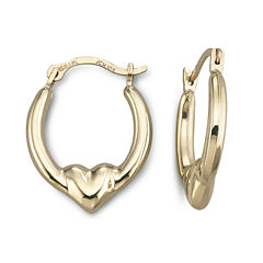 10K Heart Hoop Earrings