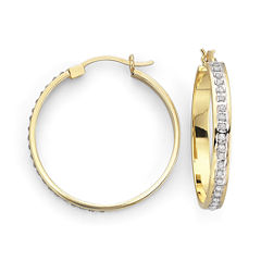 Diamond Fascination™ 18K Gold-Plated Round Hoops 29mm