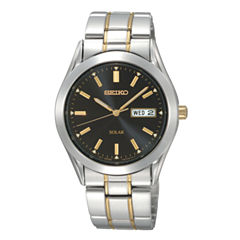 Seiko® Mens Black-Dial Two-Tone Solar Watch SNE047