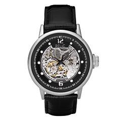 Relic® Mens Black Leather Skeleton Watch ZR77224