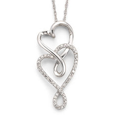 Infinite Promise 1/10 CT. T.W. Diamond Hearts Silver Pendant Necklace