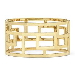 Gold-Tone Wide Geometric Cuff Bracelet