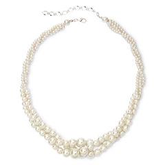 Vieste® Silver-Tone Pearlized Glass Bead 3-Row Twist Necklace