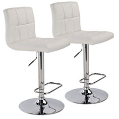 Hydraulic Lift Faux Leather 2-pc. Tufted Swivel Bar Stool