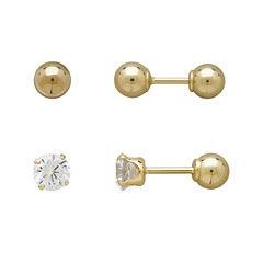Infinite Gold™ Kids 14K Yellow Gold Cubic Zirconia and Ball Stud 2-pr. Earring Set