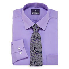 Stafford Travel Easy-Care - Big & Tall Long Sleeve Dress Shirt and Tie Set