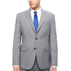 STF Travel Stretch Grey Blue Plaid Jacket Cls