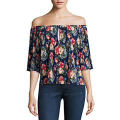 Trixxi 3/4 Sleeve Boat Neck Floral Blouse-Juniors