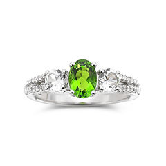 Simulated Peridot & Lab-Created White Sapphire Sterling Silver Ring